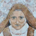 """""""Saint Therese of Lisieux Collage"""" 2015 painted paper mosaic collage 12""""X12"""""""
