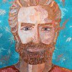 """""""Jesus portrait"""" 2015 8X10 painted paper mosaic"""