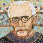 """Maximilian Kolbe"" 2013, painted paper mosaic collage 8"" X 10"""